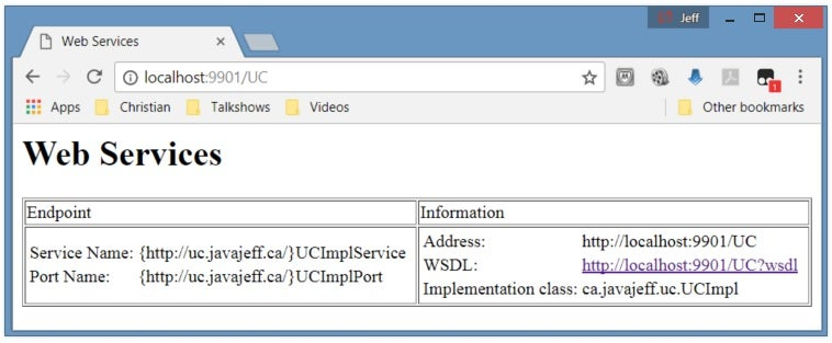 UC's Web page provides detailed information on the published Web service