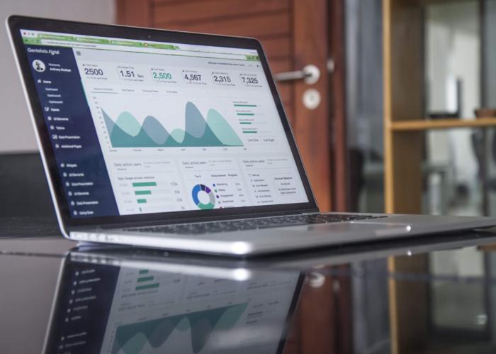 Data analytics dashboard on a laptop