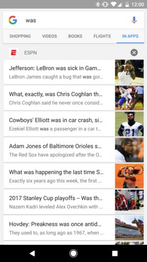 in app search espn
