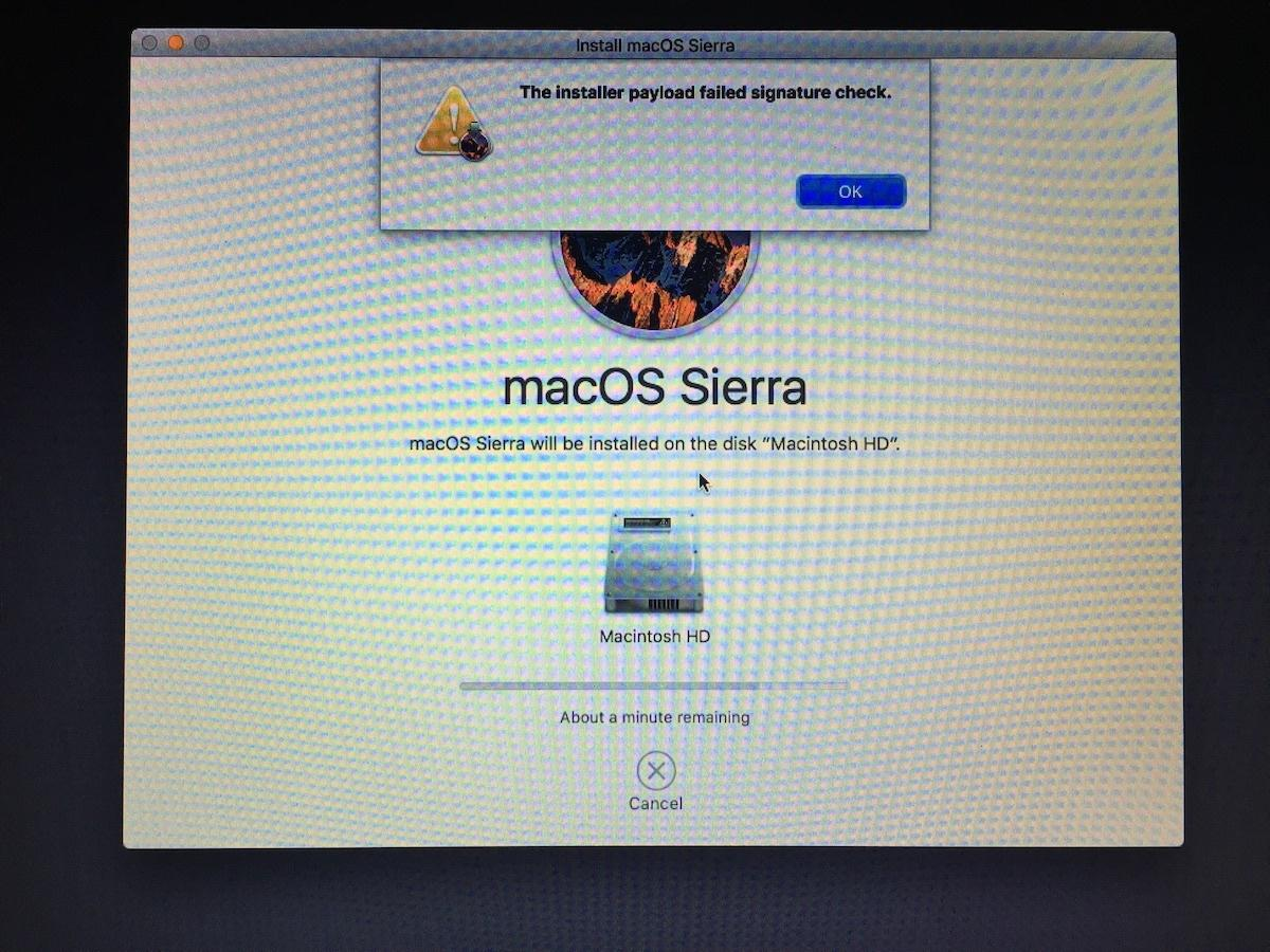 installer payload fail sierra
