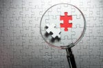 puzzle / inspect / examine / identify / missing piece / magnifying glass / solution