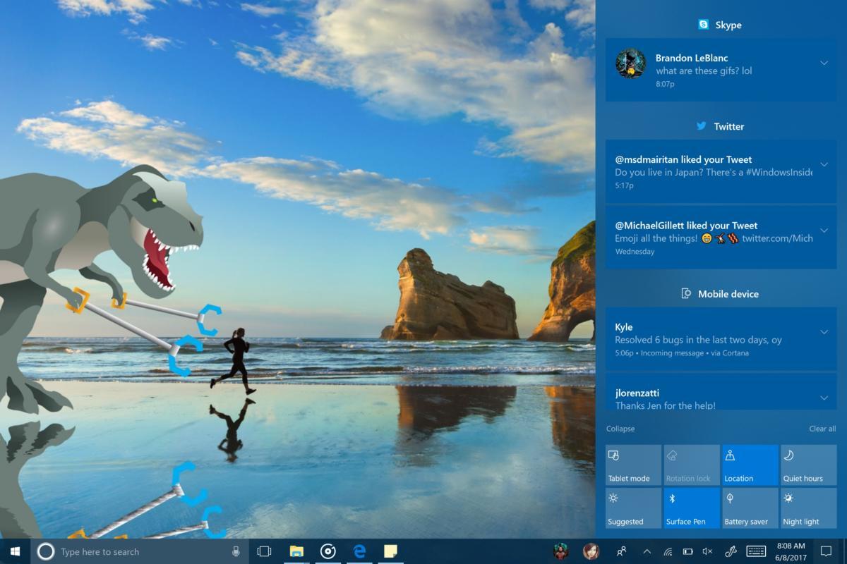 Windows 10 16215 action center revamp
