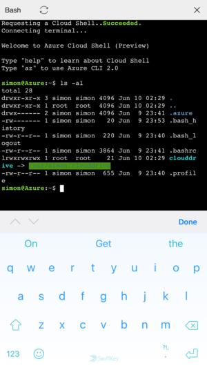 Azure command line on iPhone
