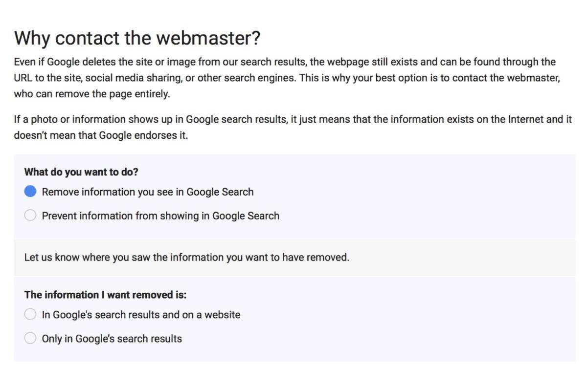 delete google data contact webmaster