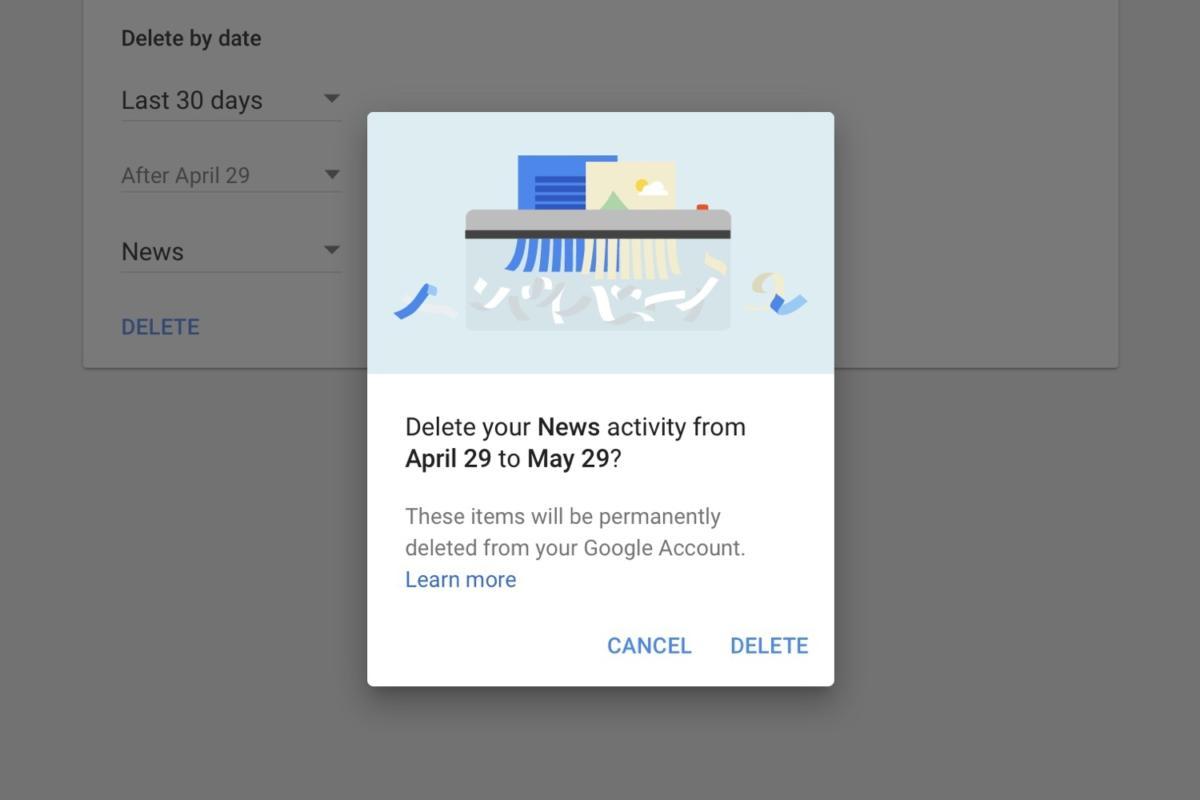delete google data date range