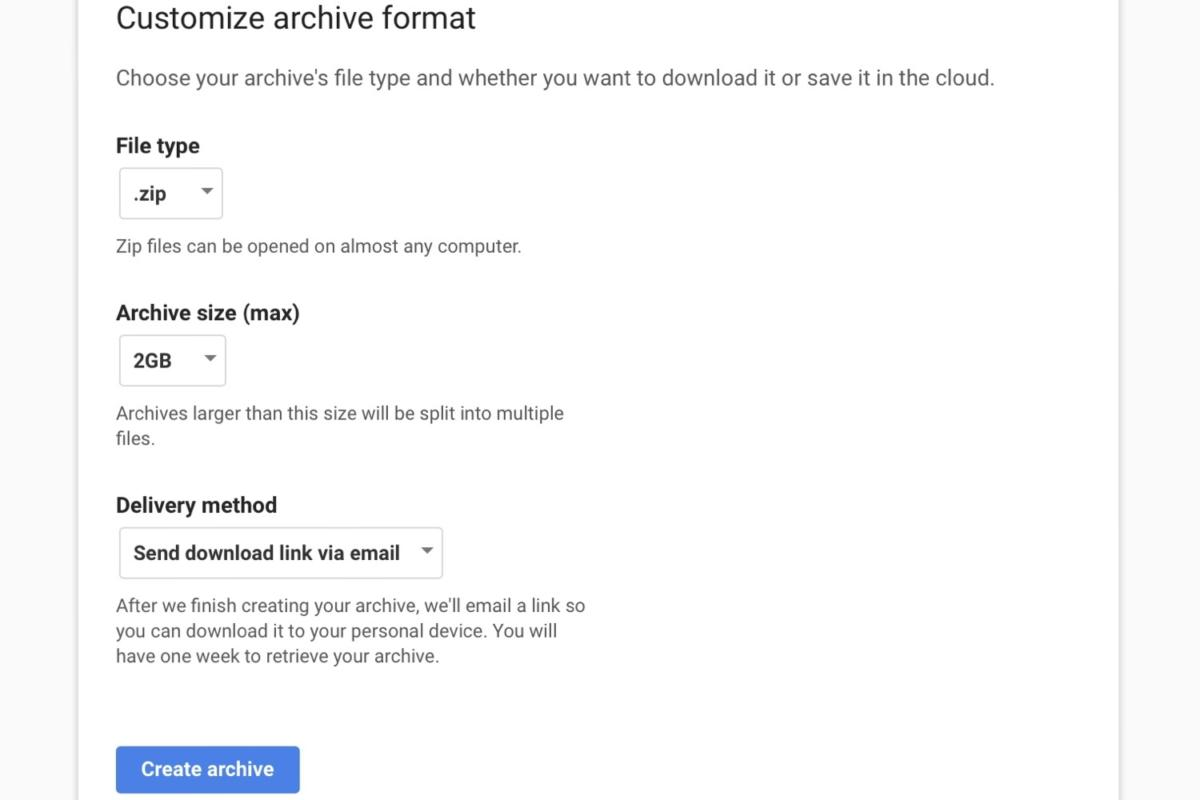 download google data archive format