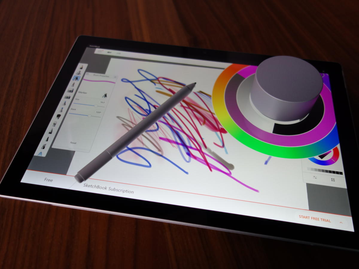 Surface Pro 2017 Pen and dial