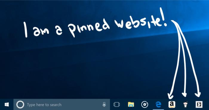 Windows 10 16215 edge pinned websites