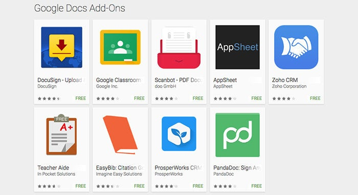 Google Docs Add-ons Android: 2016
