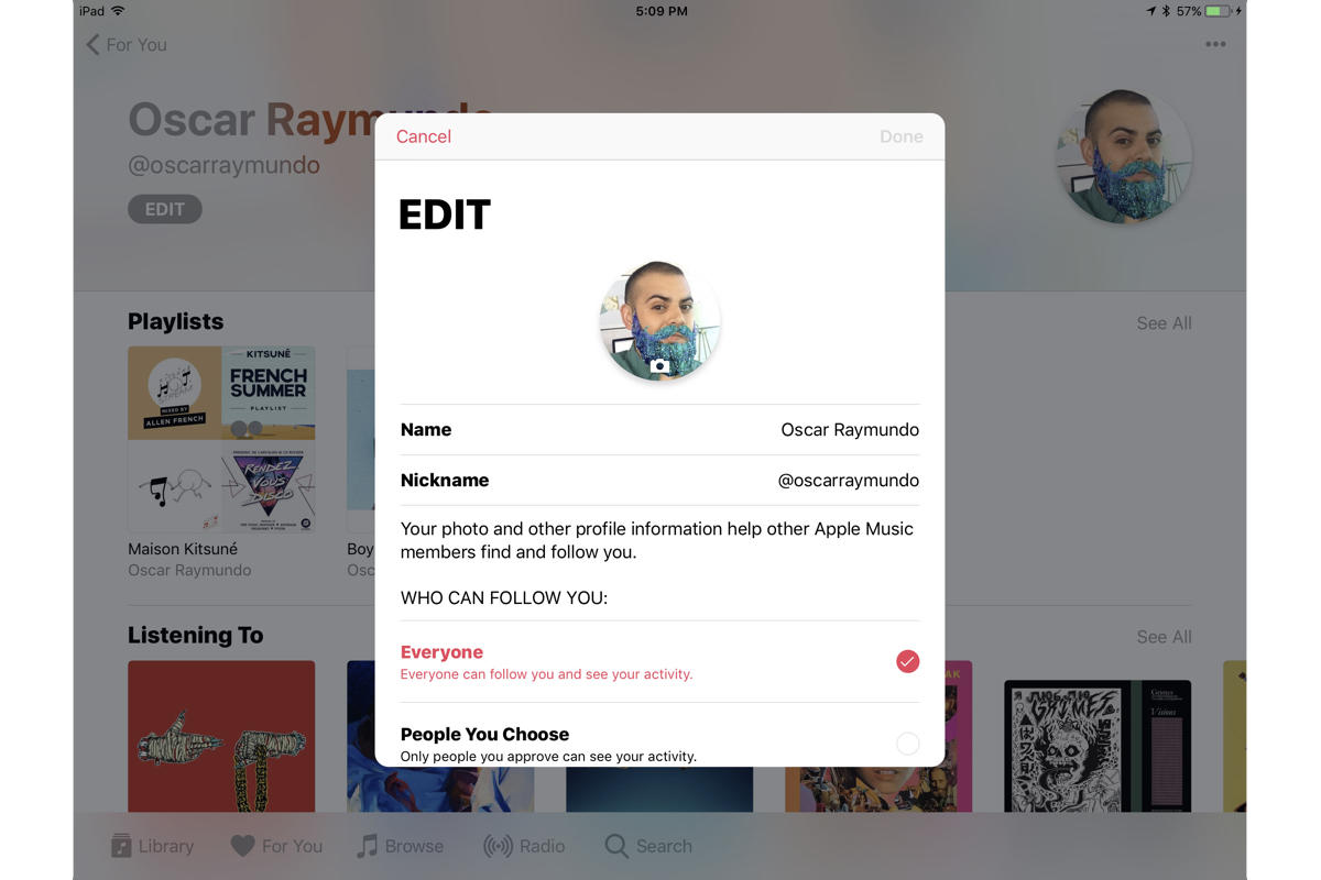 ios 11 apple music profiles