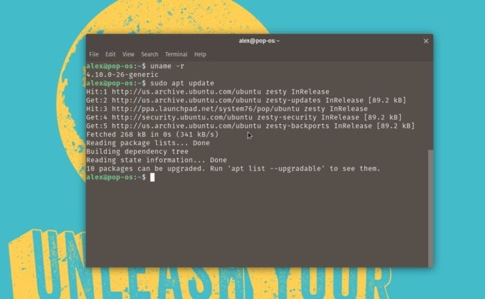 linux pop os apt update