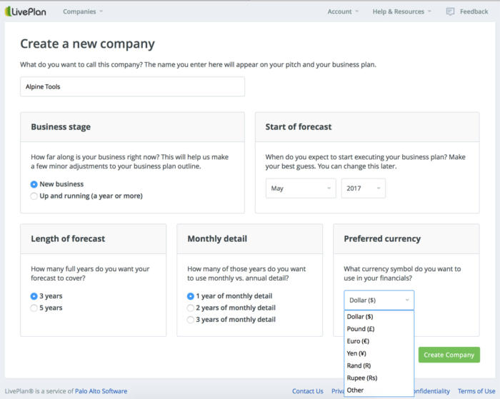 LivePlan business planning software - Create a Company screen