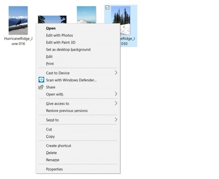 share context menu