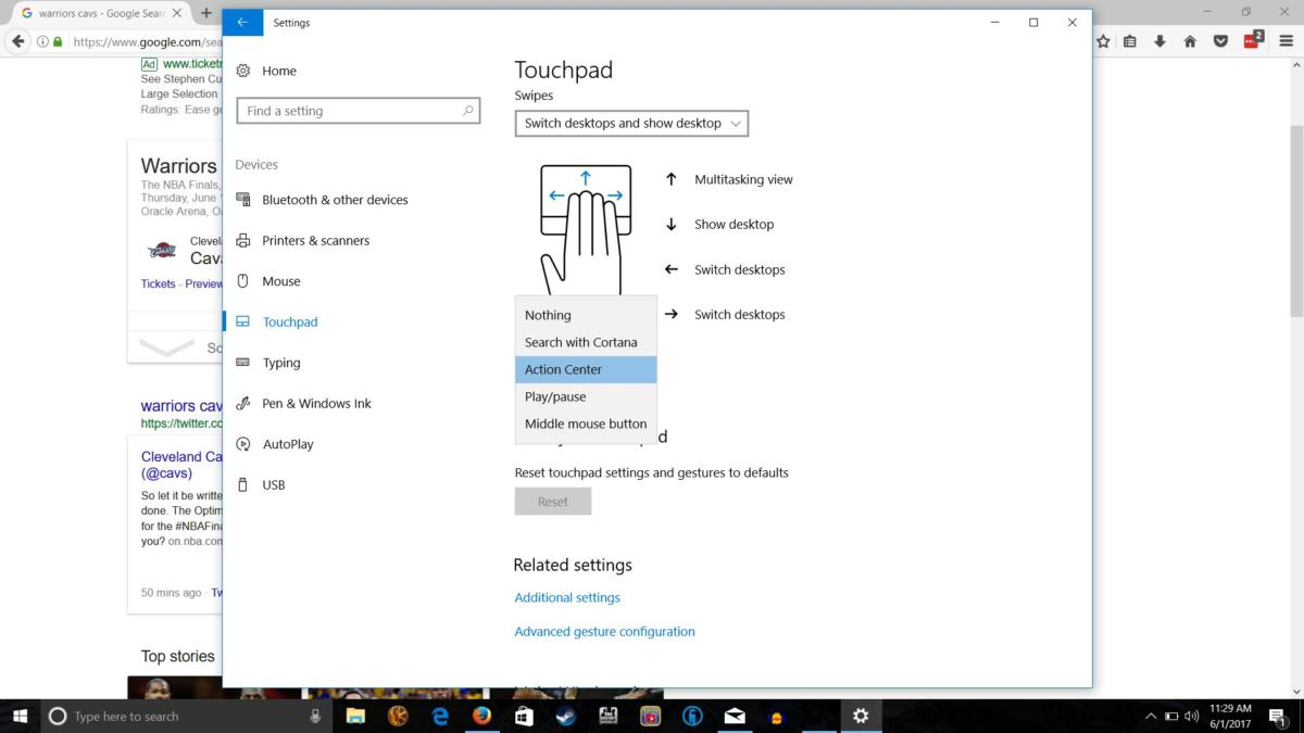 touchpad multifinger