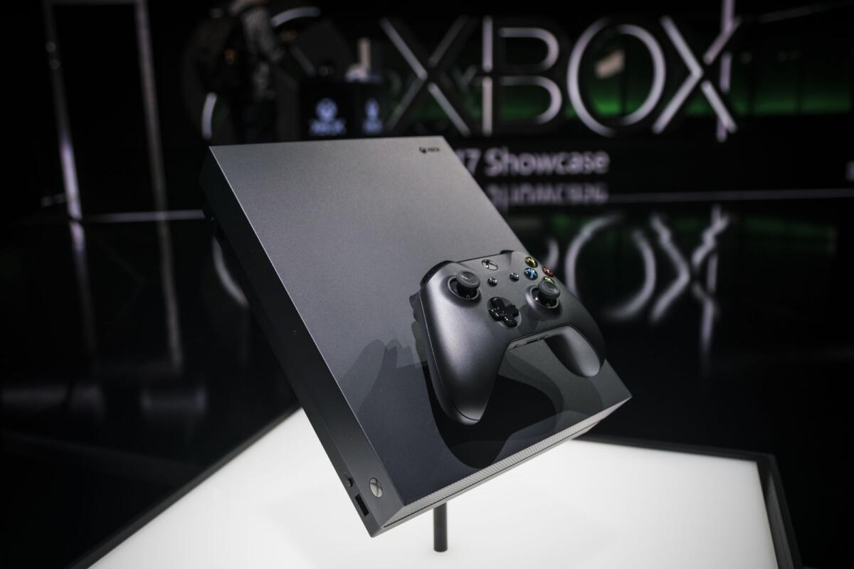 hands on microsoft 39 s xbox one x is a tiny console with. Black Bedroom Furniture Sets. Home Design Ideas