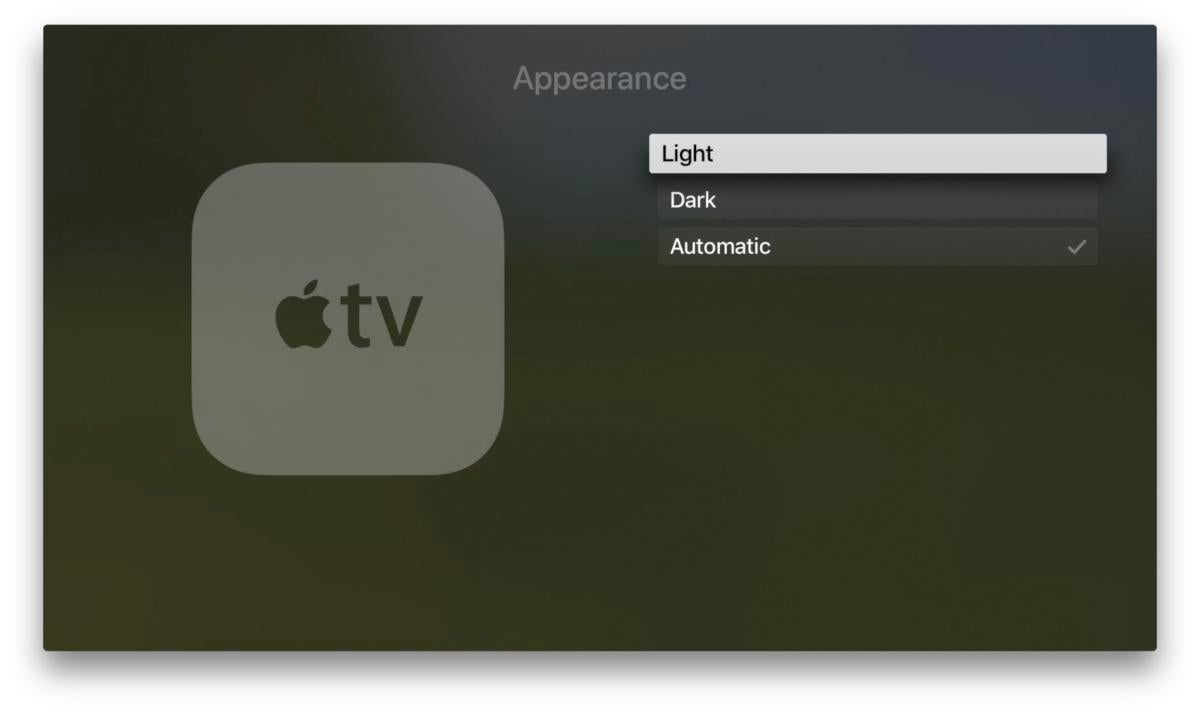 apple tv dark mode