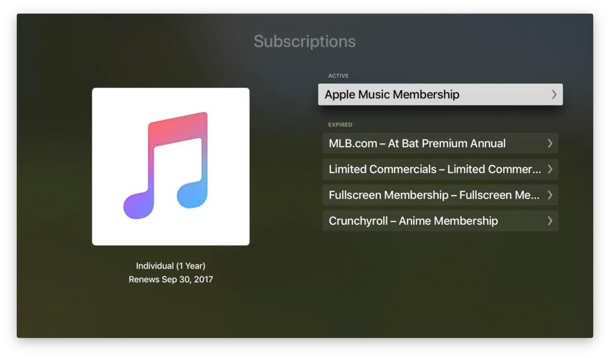 apple tv subscriptions