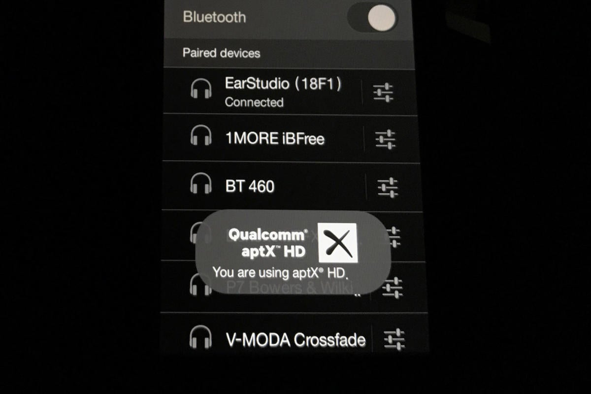 The Astell&Kern AK70 confirmed an aptX HD connection with the EarStudio.