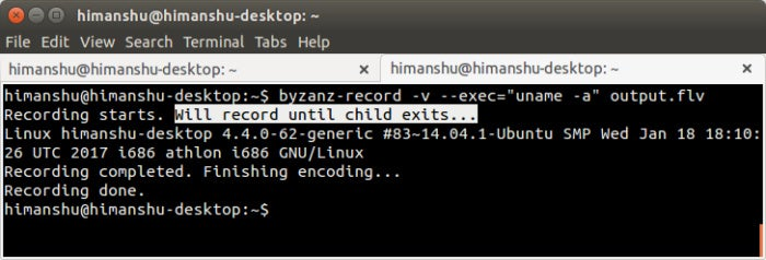 Linux screencasting apps - Byzanz command execution option