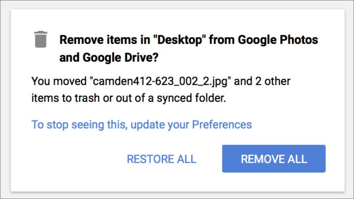 google backup sync remove all message
