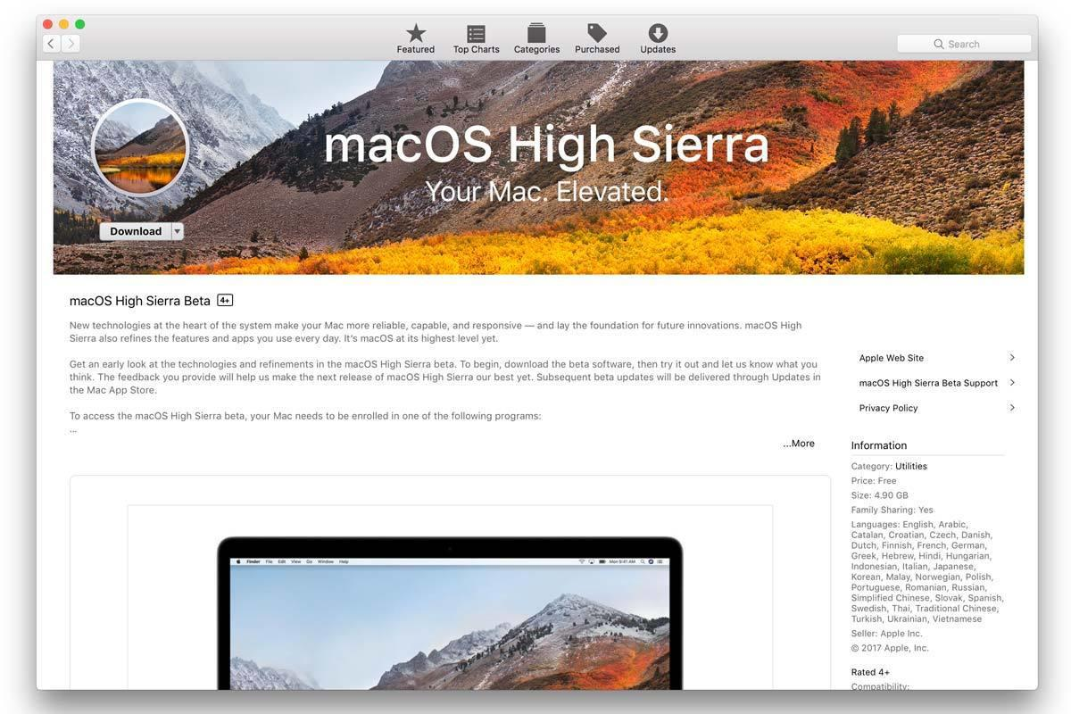 high sierra in the app store