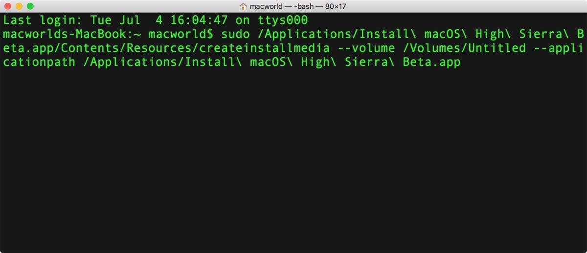 high sierra install drive terminal sudo code
