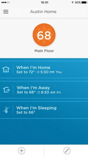 Honeywell Lyric app user interface