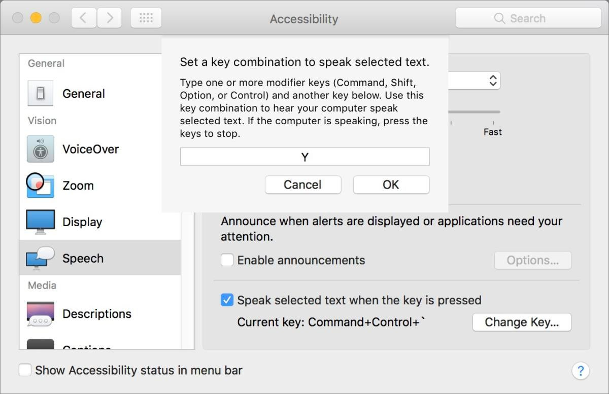 mac911 accessibility speech keystroke