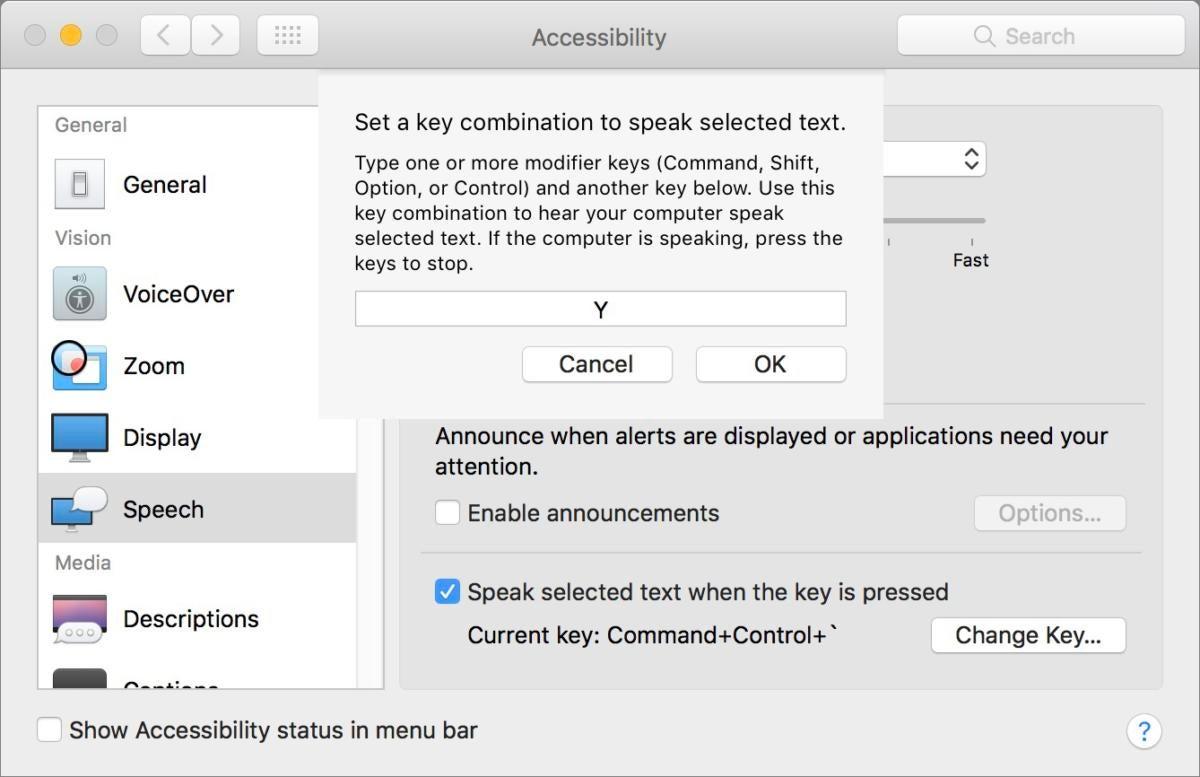 mac911 accessibility speech keystroke