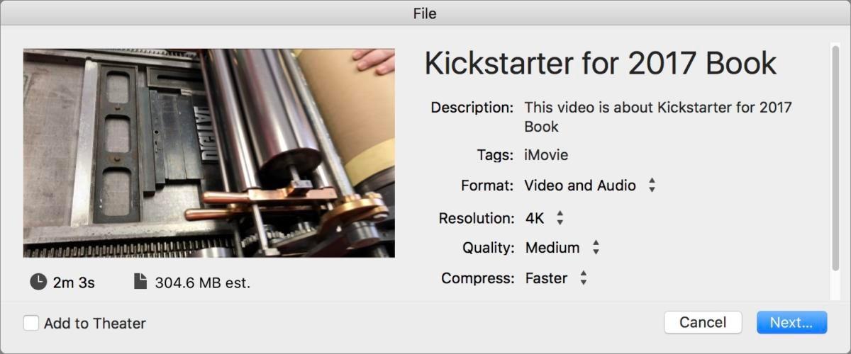 mac911 imovie limited export options