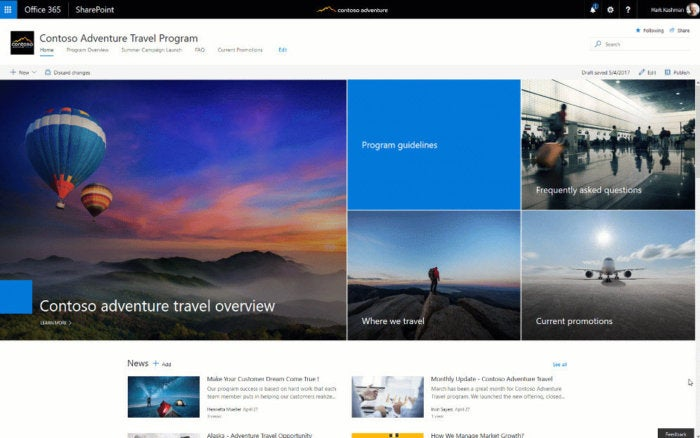 get started with SharePoint communication sites