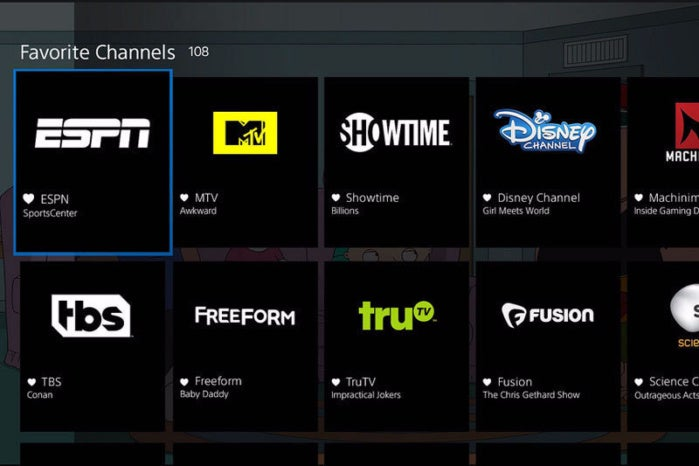 Playstation Vue channel lineup