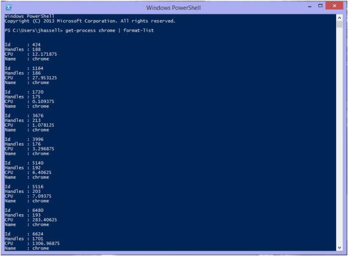 PowerShell getprocess formatlist