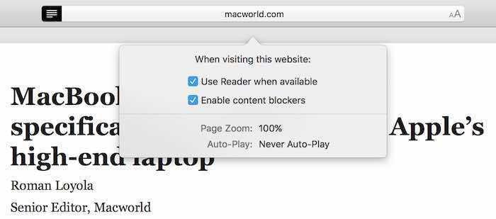 safari 11 reader mode settings