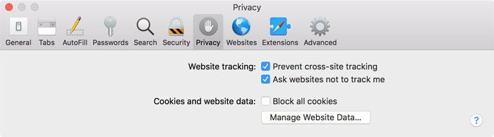safari 11 website tracking settings