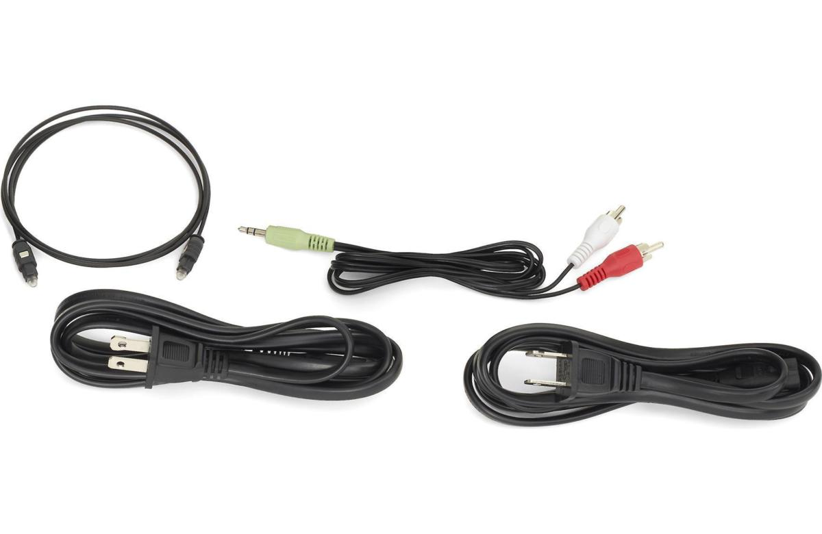 The JBL SB250 inclues a Toslink optical digital cable to connect to your TV and an analog stereo cab