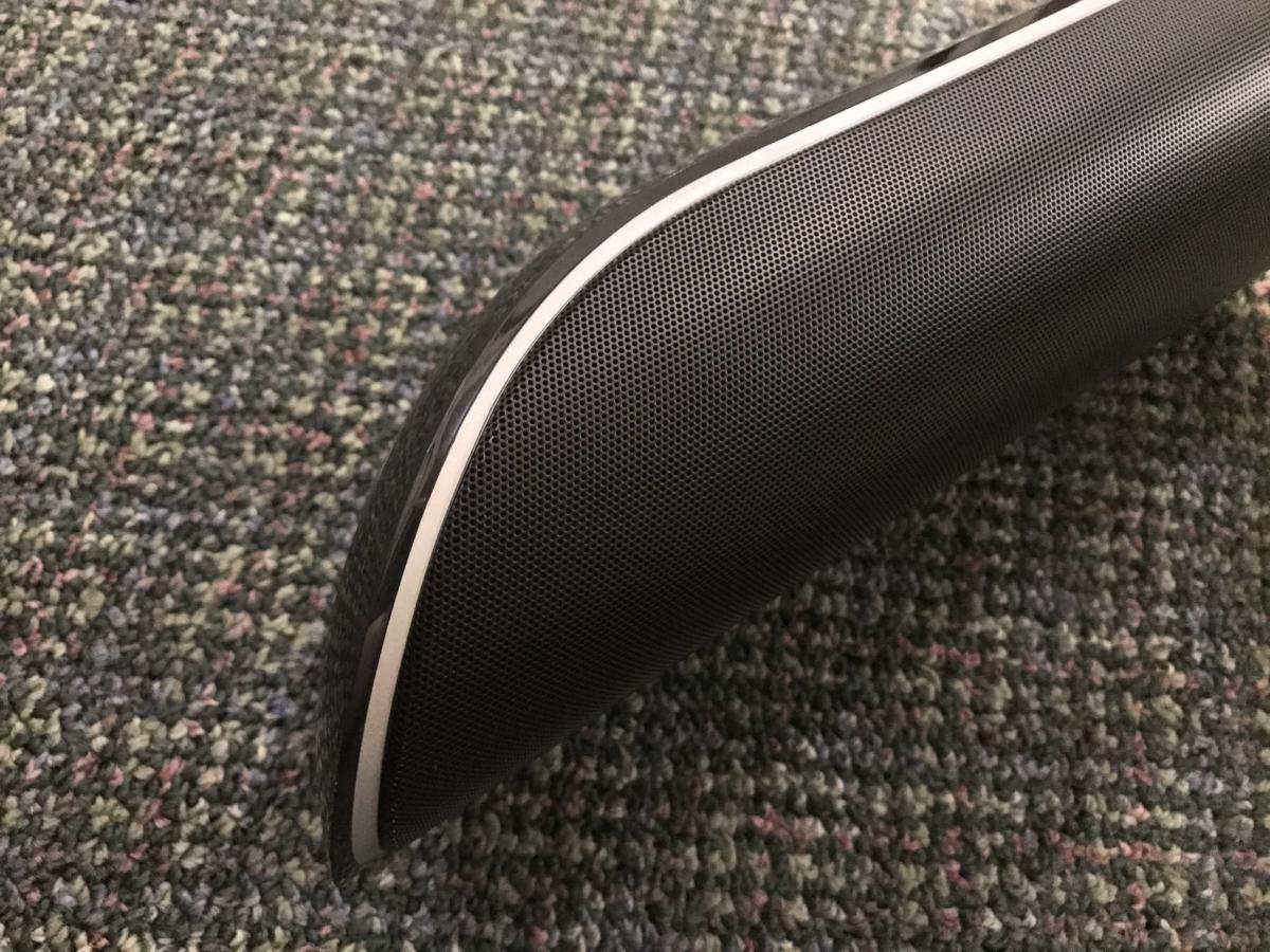 The SB450 sound bar has slick styling and tapered ends.