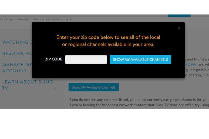 Sling TV regional chanels