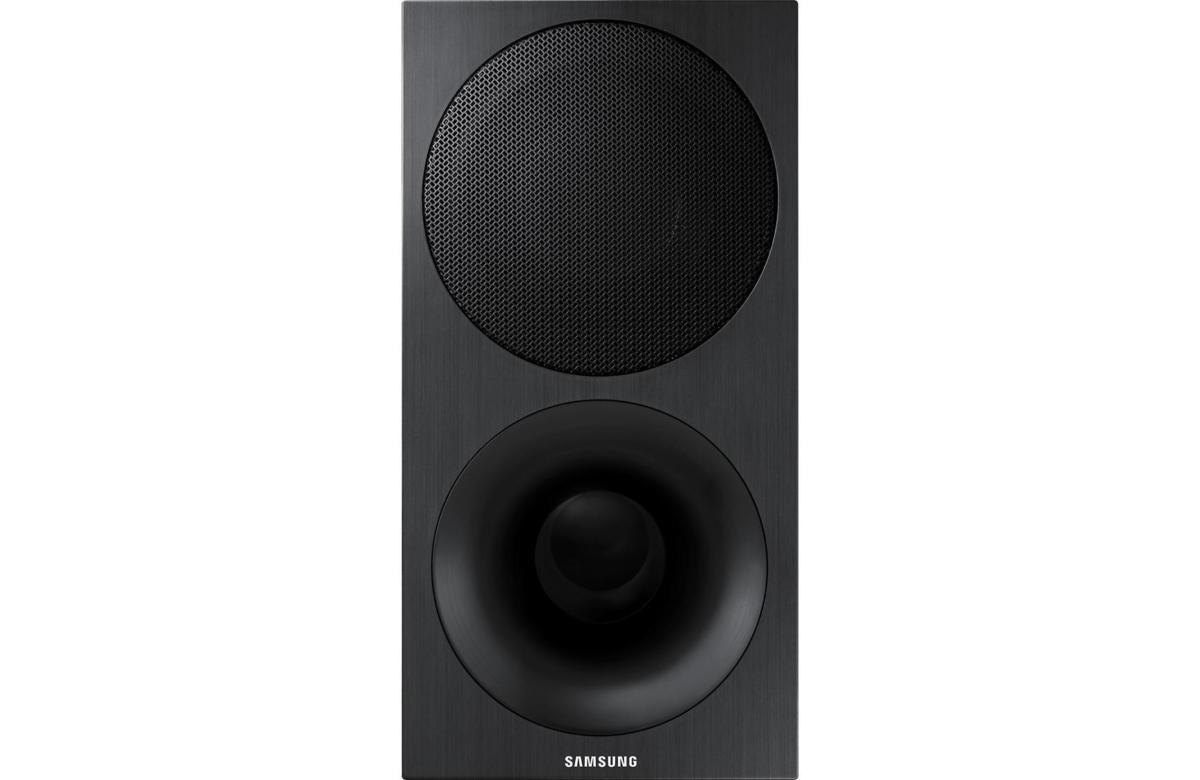Samsung includes a wireless subwoofer with a tall, thin profile that makes it easy to place in your