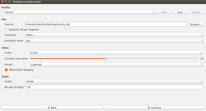 Linux screencasting apps - SimpleScreenRecorder settings 2