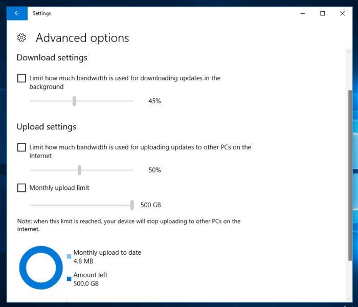 Windows 10 Fall Creators update bandwidth limit