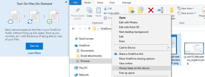 Windows 10 Fall Creators Update OneDrive Files On-Demand
