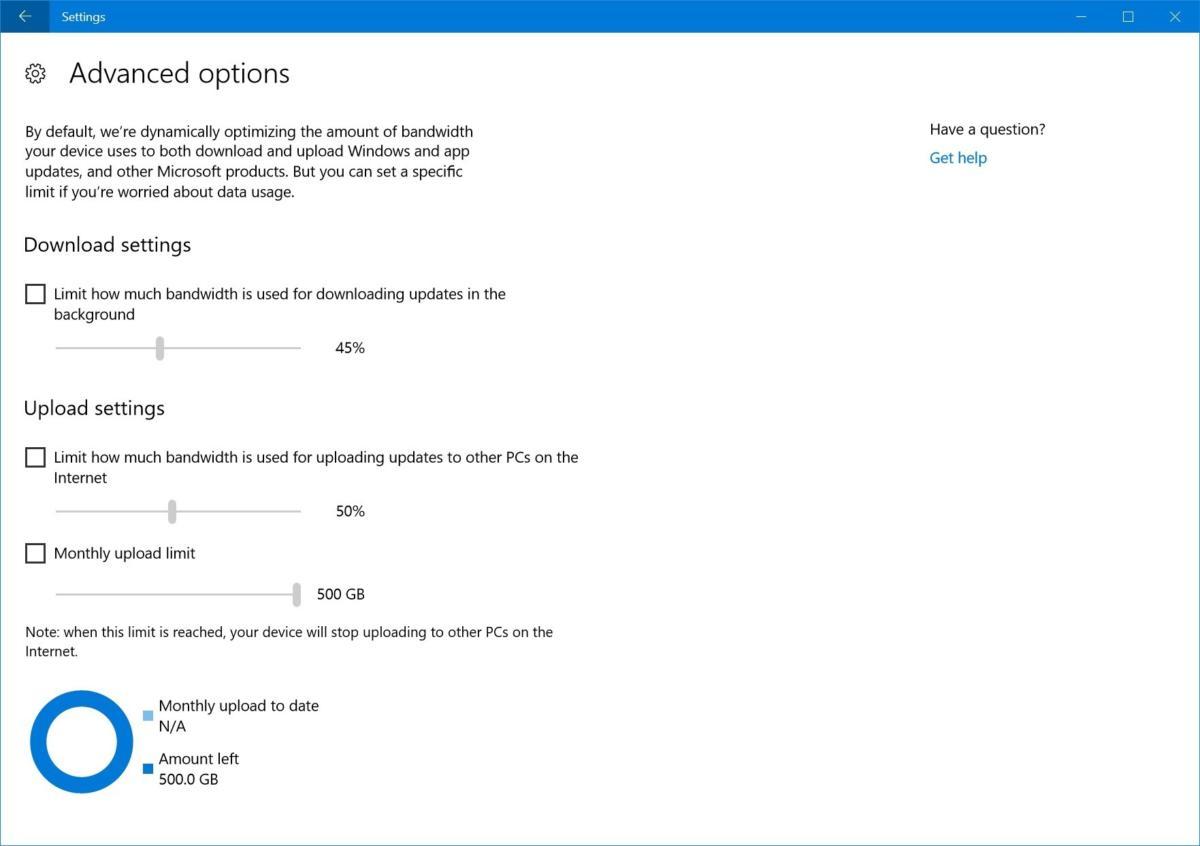 windows 10 update bandwidth