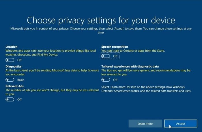 3 choose privacy settings for your device
