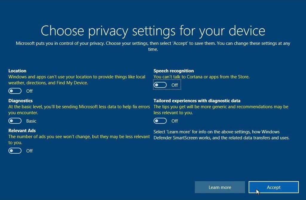 How to keep your data private on windows 10 creators for How to choose windows
