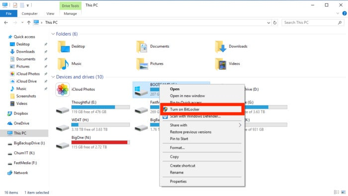Encrypting a drive with BitLocker