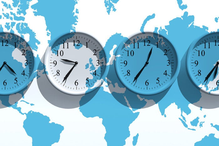global time zones with 4 clocks