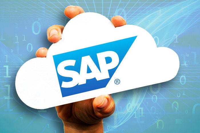 hand holding paper cloud for SAP logo