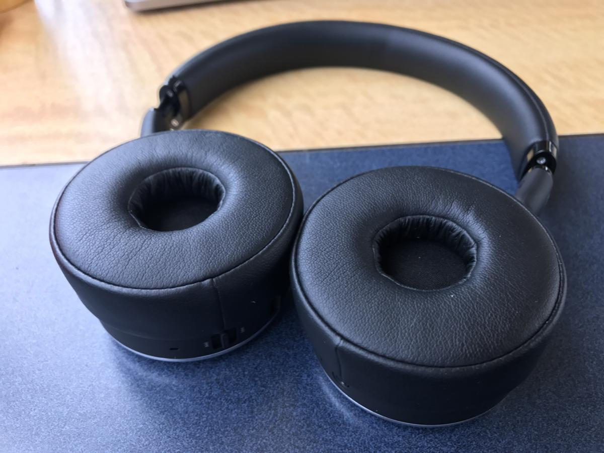The ear pads are thick and made of memory foam.