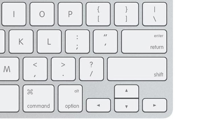 apple keyboard lower corner
